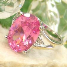 STUNNING STRAWBERRY CUBIC ZIRCONIA .925 SILVER DESIGNER RING - SIZE 6