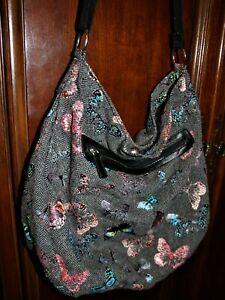 Women BLACK TWEED with Colorful BUTTERFLIES Cloth HOBO shoulder/crossbody BAG