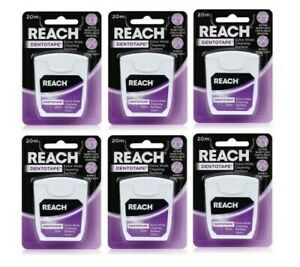6 x Reach Dentotape Waxed 20m Extra Wide Dental Floss For Plaque Removal