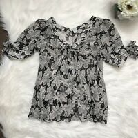 Anthropologie Odille Sz 6 Silk Tie Sleeve Ruched Floral Top Black White V Neck