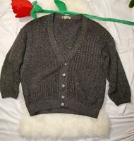 Vintage Expressly For Hess's Gray Grandpa Cardigan Made in Italy Size Large