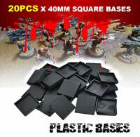 [20PCS 40mm] Square Bases Plastic for Miniatures War Games Warhammer Models