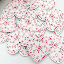 10/30pcs White Wood snowflake Heart Buttons 50mm Sewing Craft Mix Lots WB497