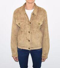 Vintage Brown Leather TWICE Loose Waist Length Button Women's Coat Jacket Size L
