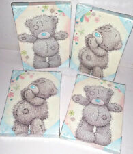 ME TO YOU BEAR TATTY TEDDY SET OF 4 PRINTED CANVAS ART 2 PINK & 2 BLUE  GIFT NEW