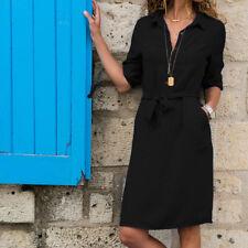 Women V-Neck Long Sleeve Button Belted Knee Length Dress Ladies Office Dress L