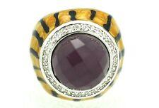 Ring Purple Stone Quartz Enamel Size 51 Sterling Silver 925 Rhodium-Plated