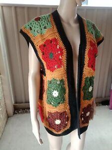 Vintage Crochet Vest Blanket Style Wool Hand Made Boho Festival Hippie