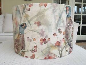 Handmade Lampshade Voyage Blackberry Row Linen Fabric Pheasants Berries Bracken
