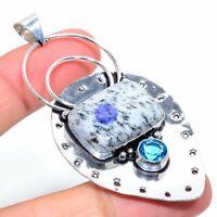 "K2 Azurite Blue Topaz Gemstone Handmade 925 Silver Jewelry Pendant 2.96"" VK-3329"