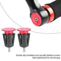 1 Pair MTB Bike Road Bicycle Handlebar Grips Handle Bar Aluminum Cap End Plugs