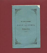 Libro Danni Economici Recati dall'Austria alla Toscana Lettera Bartolommeo Cini