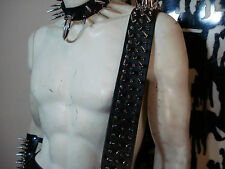 LEATHER MIXED SPIKED GUITAR STRAP. BUCKLE UP! ... (MDLS0291)... DEMONAZ