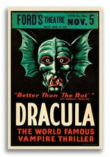 "1928 Vintage Monster Movie Poster ""Dracula"" Fords Theater - 16x24"