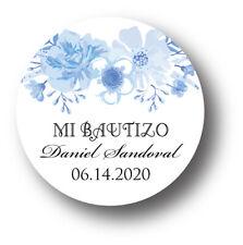 30 Mi Bautizo Blue Floral Personalized Favor Stickers