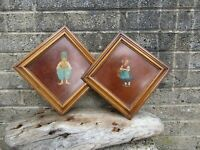 Pair of antique hand painted Dutch boy&girl framed panels - Early c20th pictures