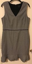 Ann Taylor black and cream houndstooth dress Size 12 CAREER ruffle trim SOFT