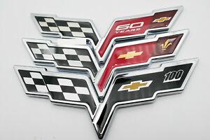 BRAND NEW Emblem Corvette Cross Flags Sticker Badge Decal Chrome for Chevrolet