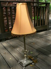 FREDERICK COOPER Brass Table Buffet Candlestick Lamp w/Shade & Bulb, works fine