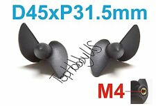 1 Set D45mmxP31.5 Left & Right Boat Propellers, M4 Threaded RC US TH038-01404/08