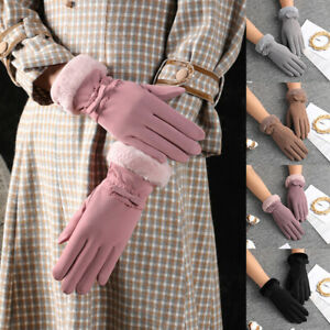Women Winter Gloves Touch Screen Cycling Cashmere Thicken Windproof Warm Mittens