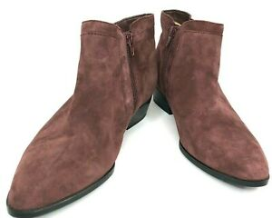 Naturalizer Women's Suede Ankle Boot Baron 2 Zippers Burgundy Size 9 Shoe