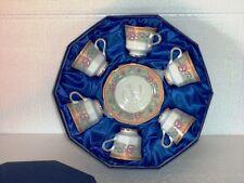 caffe' tazzine set 6 pezzi con piattino porcellana decorata scatola regalo