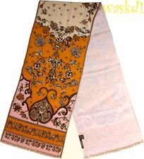 EMILIO PUCCI pink & orange Floral TSARINA Wool/Silk 2-ply Long scarf NEW Authent