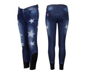 Kinder Jeans Reithose Diva Silikon-Kniebesatz Stretch Blau Sternmuster 104-152