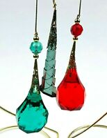 VTG Christmas Tree Ornament Lot Teardrop Faux Crystal Faceted Acrylic Green Red