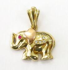 14k Yellow Gold Ruby Elephant Animal Charm Necklace Pendant ~ 3.7g