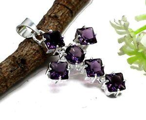 "925 Sterling Silver Amethyst Gemstone Handmade Jewelry Cross Pendant Size-1.80"""