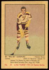 1951 Parkhurst #22 Ed Sanford, Boston Bruins.  Nr Ex/Ex