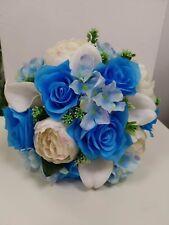 Silk Artificial Rose Hydrangea Calla Blue Wedding Bridal Bouquet Posy Country