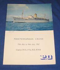P & O Cruise Liner Chusan Dinner Menu 1967