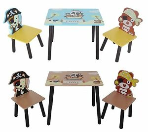 Kiddi Style Childrens Pirate Wooden Table & Chair set Kids Toddlers Childs Kids