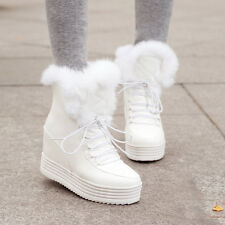 Womens Lace Up Platform Wedge Heel FUR Roma Snow Winter Ankle Boots Shoes Plus
