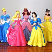 Disney Princess 5 Deluxe Toy Figure Set Snow White Aurora Ariel Cinderella Belle