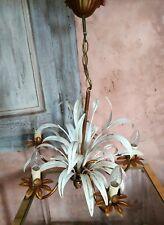 Beau lustre 5 feux en métal doré laqué blanc Vintage feuilles Hans KOGL 1970 *