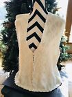 Vintage Koret Cream And Beaded Christmas Vest Size L Ugly Cute Christmas Sweater