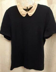 J Crew Peter Pan Collar Navy Cotton Sweater Medium