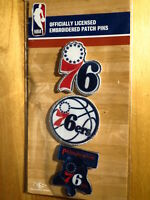 Official Licensed NBA Philadelphia 76ers Embroidered Patch Pin Set