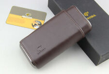 Fine  Brown Leather Cedar Wood 3 Finger Cigar Case Holder With Box