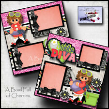 LITTLE DIVA girl 2 premade scrapbook pages paper printed layout for album CHERRY