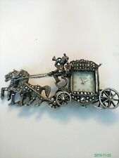 Vintage Horse & Carriage Marcasite Rodania Watch Brooch. Highly Unusual