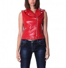 Jacket Leather Vest Women S Coat Red Womens Short Real Sleeveless Motorcycle 3