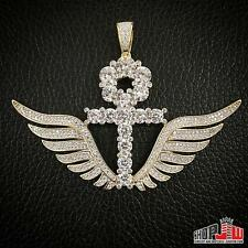 Mens Yellow Gold Finish .925 Silver Ankh Cross Angel Wings Pendant Big Iced Out