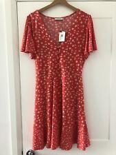 BNWT Oasis Coral Pink Ditsy Tea Dress L