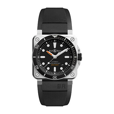 BRAND NEW GENUINE BELL & ROSS BR 03 92 DIVERS WATCH BLACK RUBBER SILVER RRP £3K