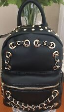 NWT Bebe Jett Mini  Backpack Hand Bag Purse Black With Studs Chain Accents